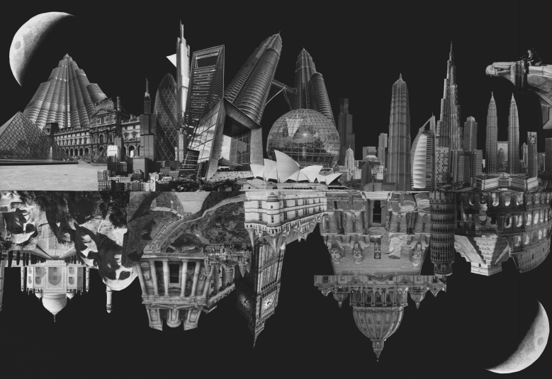 Black and white paper collage with buildings of the past vs the ones of the present, 2015