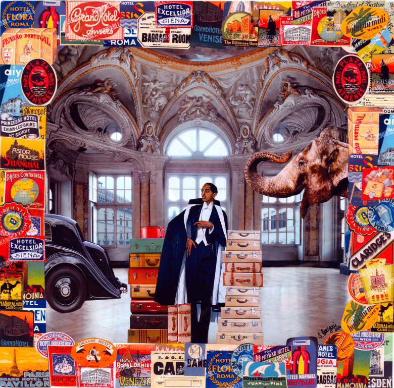 Paper collage celebrating the Mahrajah of Indore during a visit in Europe: his elephant is replaced by a Rolls Royce and he is posing with a tuxedo suit close to many suitcases, 2016