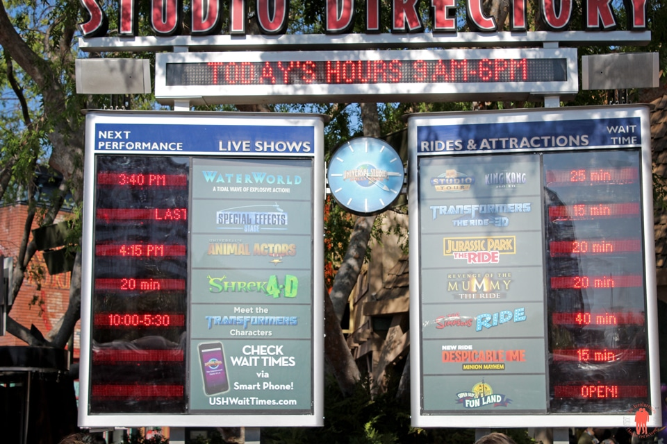 Universal Studio Los Angeles - Directory Live Shows and Attractions