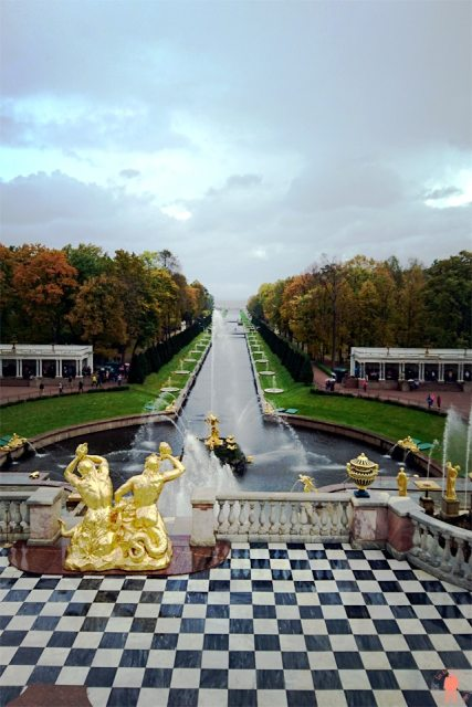 Palais de Peterhof-panorama-golfe