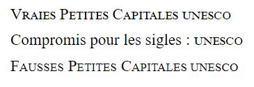 Exemples de petites capitales