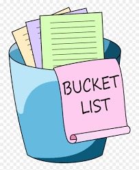 "colour illustration of a blue bucket full of lists on green, yellow, and purple paper. Hanging from the bucket is a pink scroll with ""bucket List"" written on it."