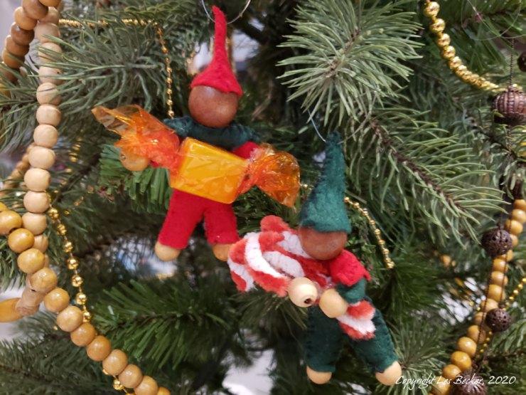 Felt Elf ornaments on Christmas tree