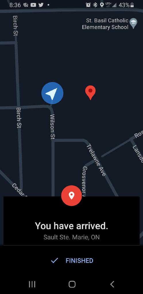 Google maps screenshot of destination