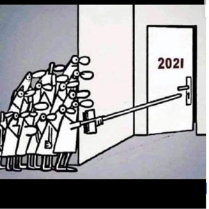 "New Year 2021 cartoon shows a crowd of people hiding around a corner while using a long stick to push open a door marked ""2021""."