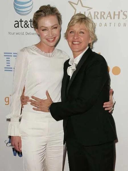 Portia de Rossi y Ellen GLAAD 2008