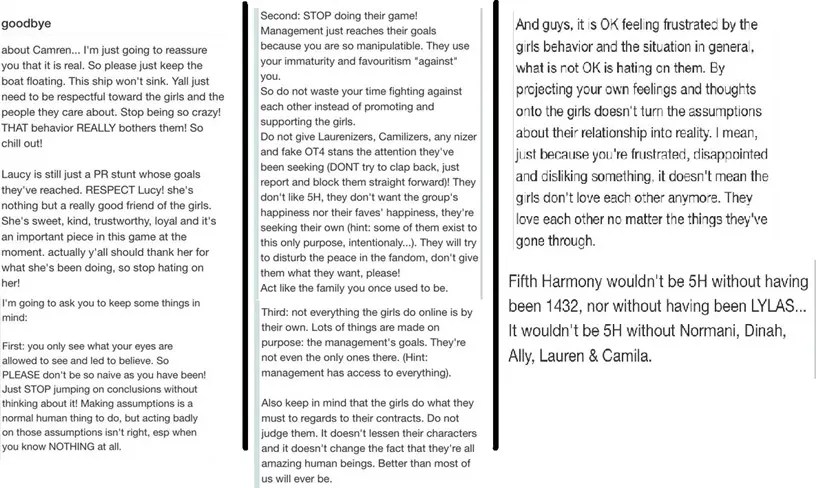 Mensaje sobre Fifth Harmony