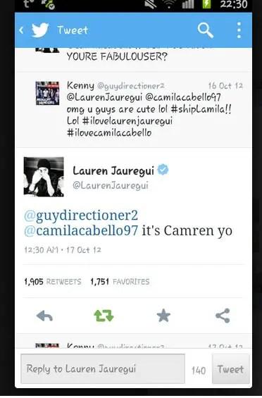 Lauren Jaureguí utilizando el Hashtag Camren