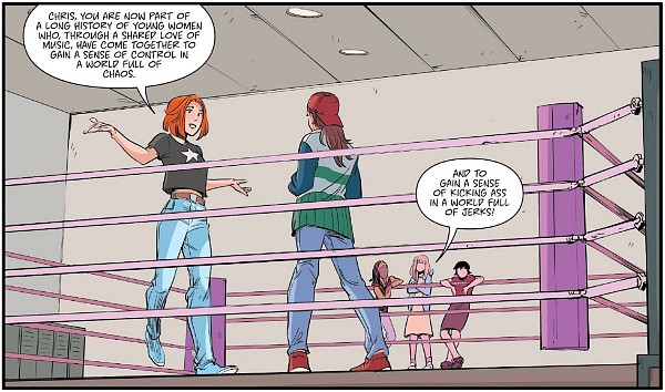 A panel from Heavy Vinyl, showing two women talking in a boxing ring