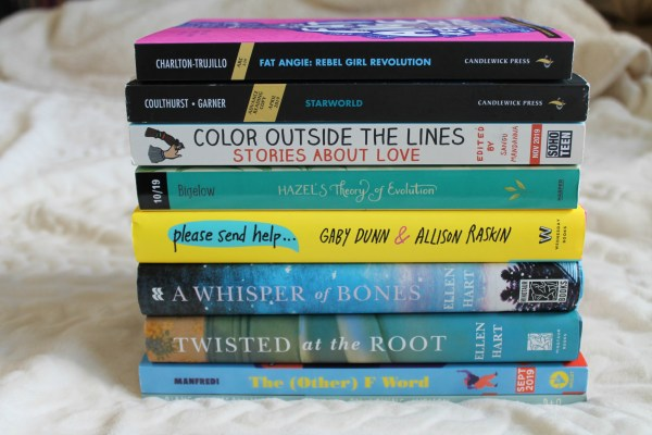 Stack of books available through the Lesbrary Patreon giveaway
