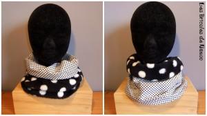 snood réversible en tissu microfibre tout doux noir à pois blancs et coton blanc à petits pois noirs.