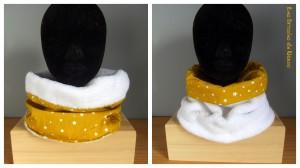 snood réversible en tissu microfibre tout doux blanc et coton moutarde à étoiles blanches.