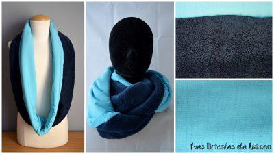 tour de cou fourrure et coton bleu