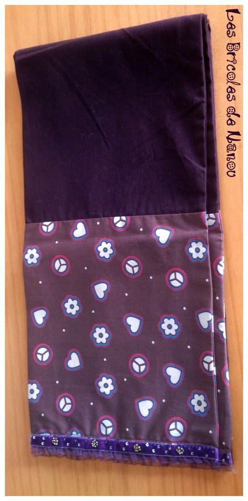 Foulard écharpe coton et dentelle violet