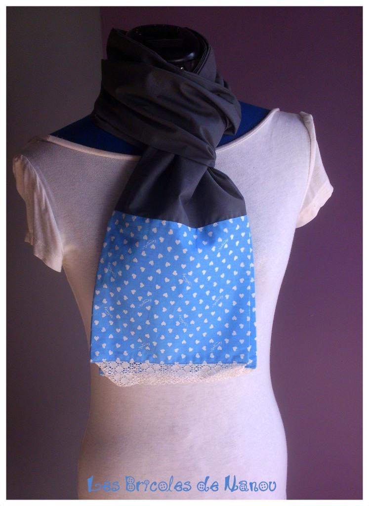 6b966811dacb5 Foulard écharpe coton et dentelle gris et bleu - Les Bricoles de Nanou