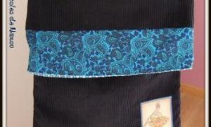 Sac rabat malin bleu nuit et turquoise