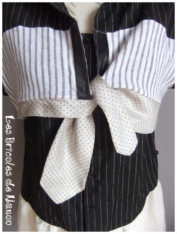 Robe chemise et boléro noir et blanc