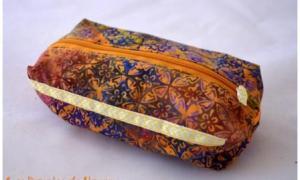 Trousse à tout carrée orange et violette