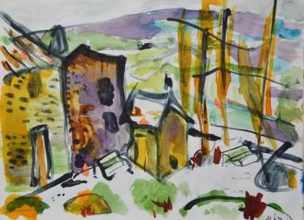 Paysage d'Auvergne d'après Victor Charreton. Croquis.