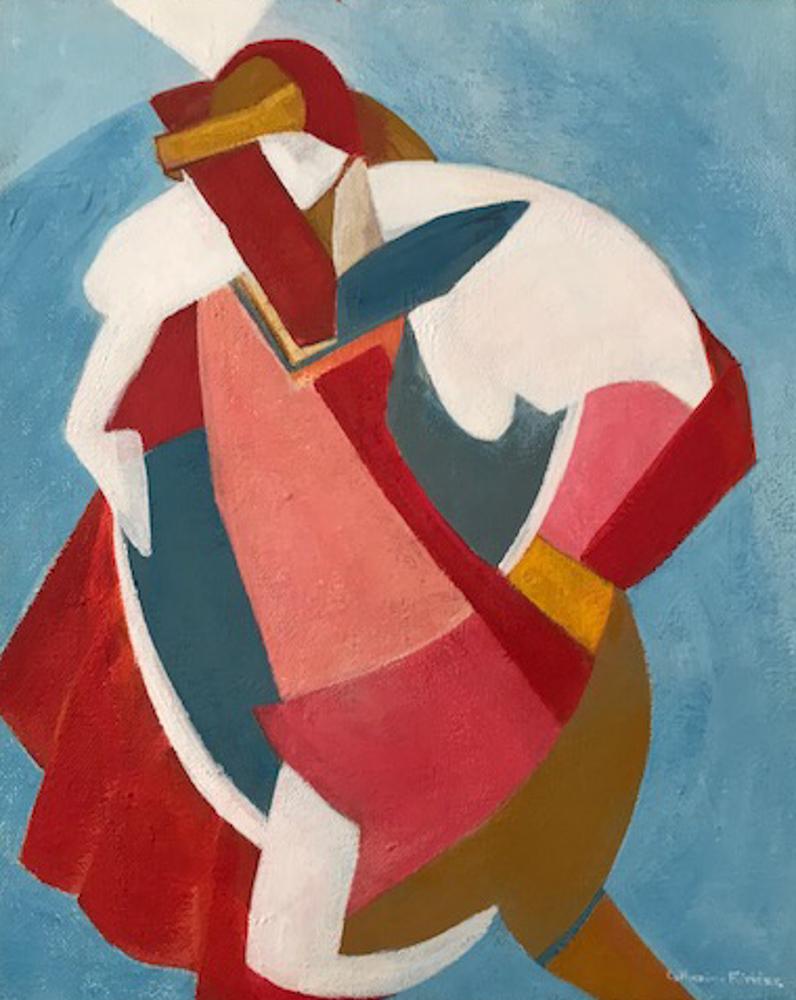 La danse. Acrylique sur toile, format 24x30. Création 2016. La jeune femme porte une coiffe rouge. Son corsage blanc et les plis de sa jupe aux couleurs chatoyantes rouge-beige-rosé se détachent et font danser le mouvement de formes.