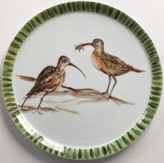 Le courlis, création sur porcelaine.