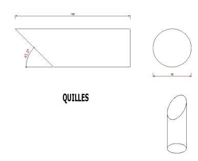 Dimensions des quilles du Mölkky