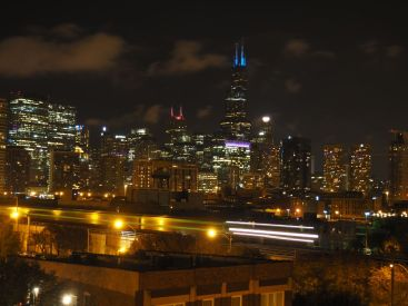 Chicago by night depui la terrasse de nos hôtes