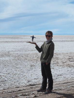 Albane sur un plateau de sel