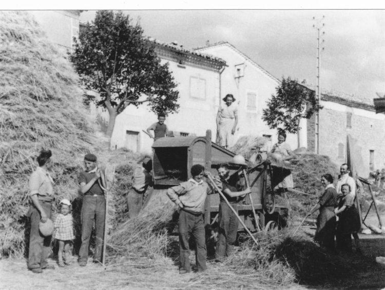 Battage devant maison Camille vers 1930