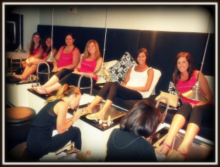 Bridal party pedicures at Les Ciseaux Salon on St. Armands.