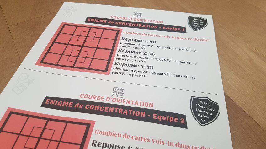 énigme concentration course d'orientation