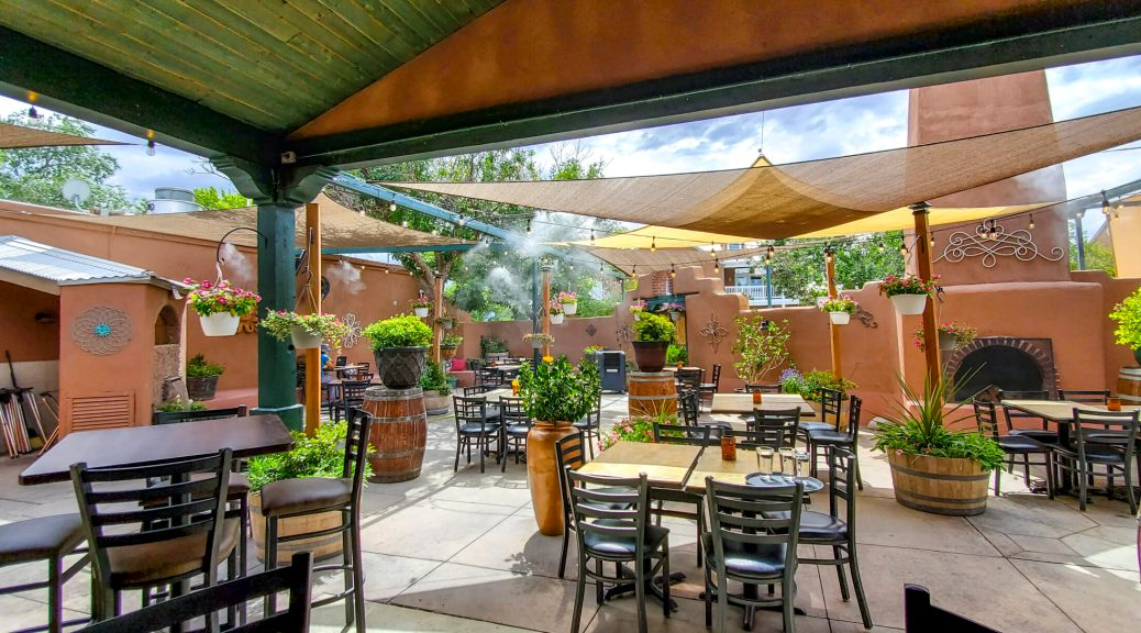 D.H. Lescombes Winery & Bistro is one of the restaurants with a patio in Albuquerque. This is their West Patio, one of two on the property.