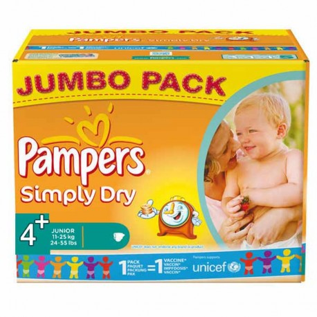 308 Couches Pampers Simply Dry Taille 4 En Solde Sur Les