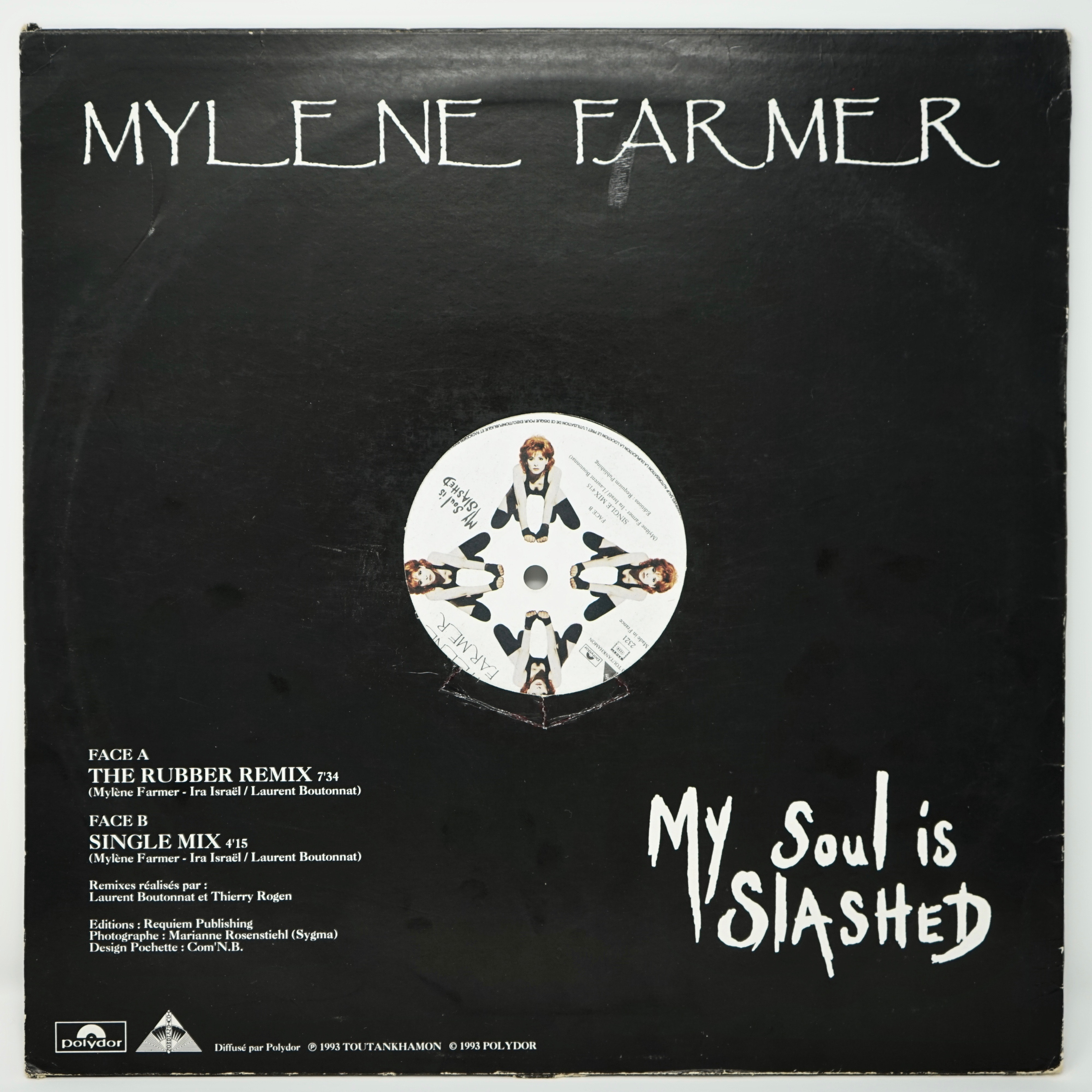 Vinyle Maxi Single de Mylène Farmer My Soul Is Slashed Verso