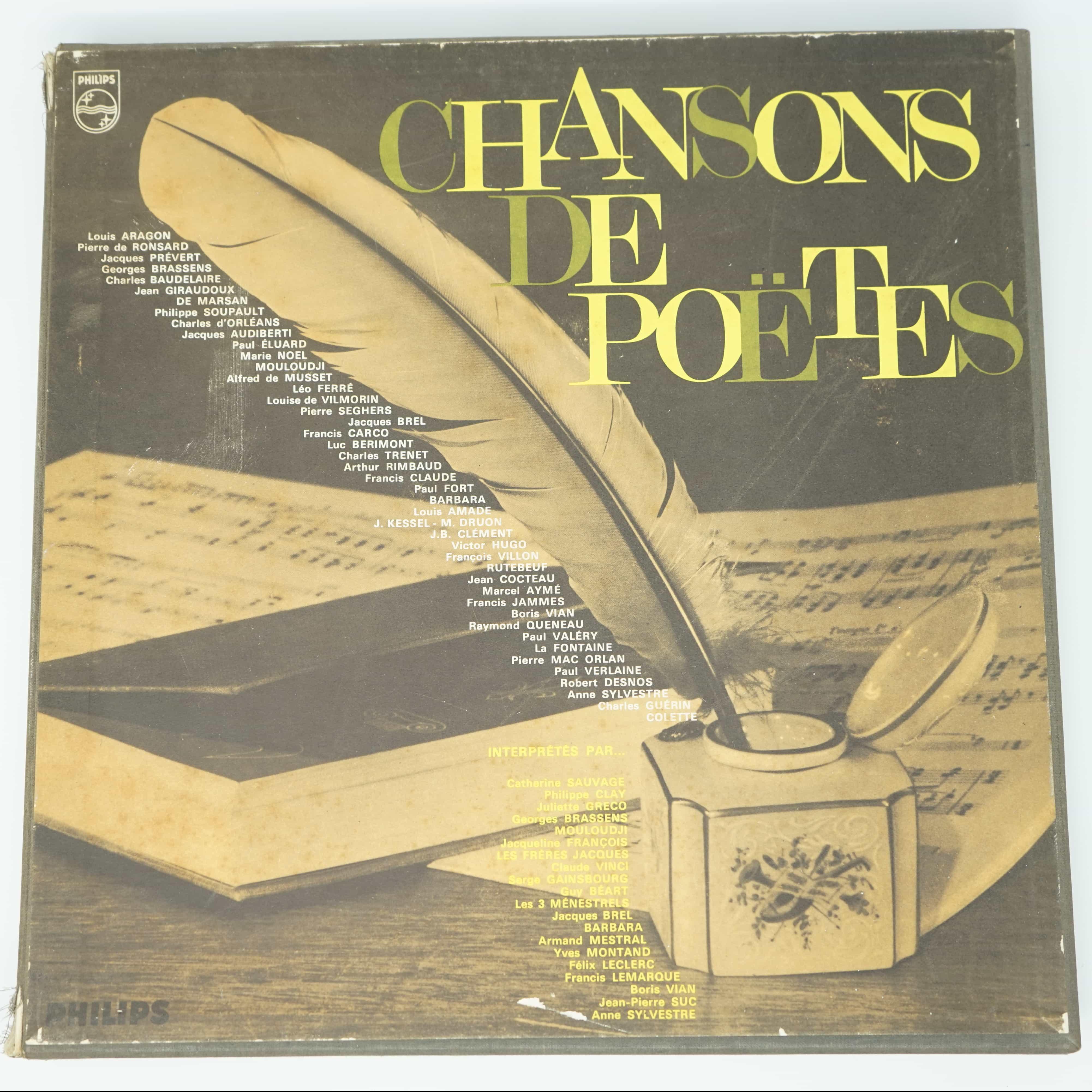 Coffret de Quatre Disques Chansons de Poètes