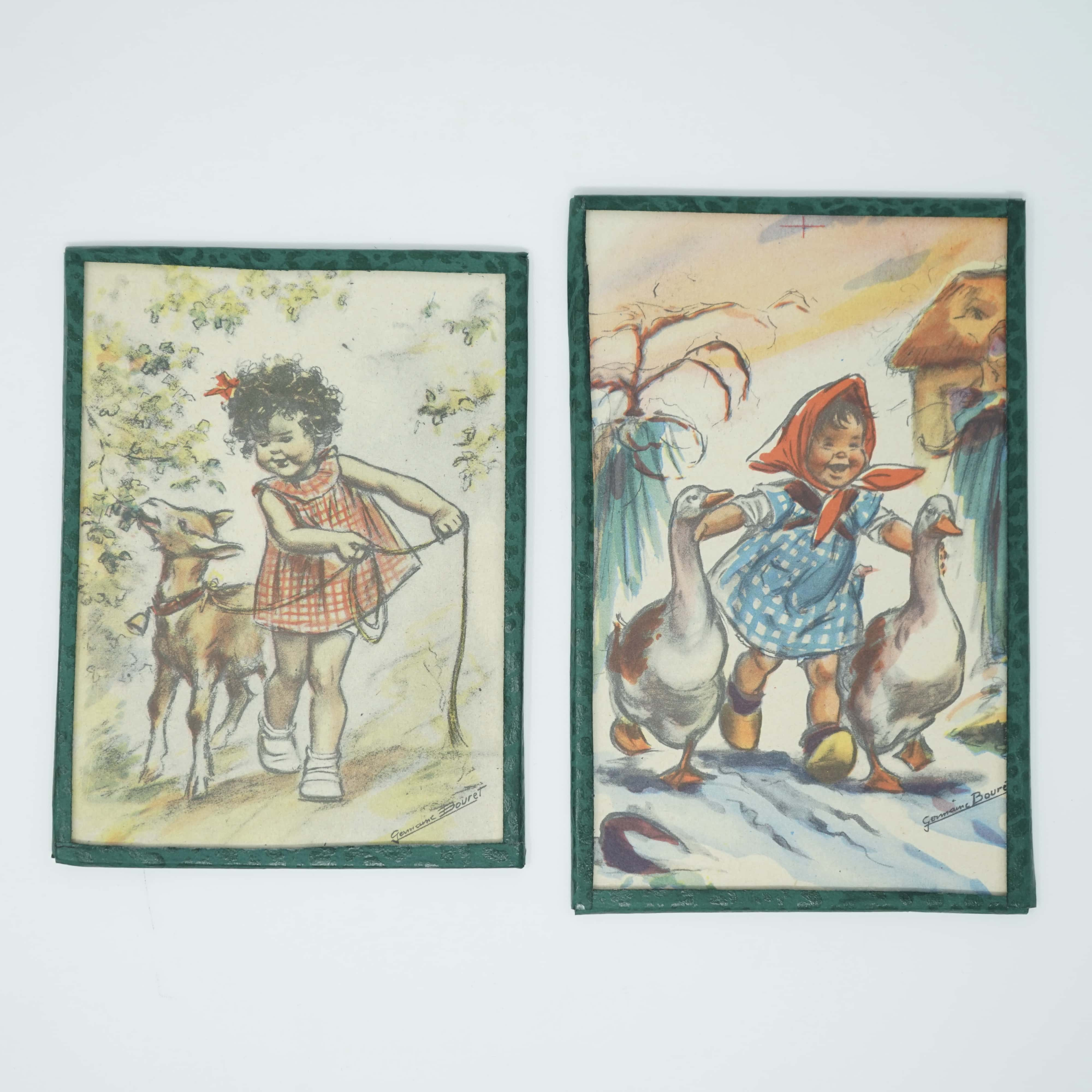 Deux Illustrations Germaine Bouret Petit Cadre