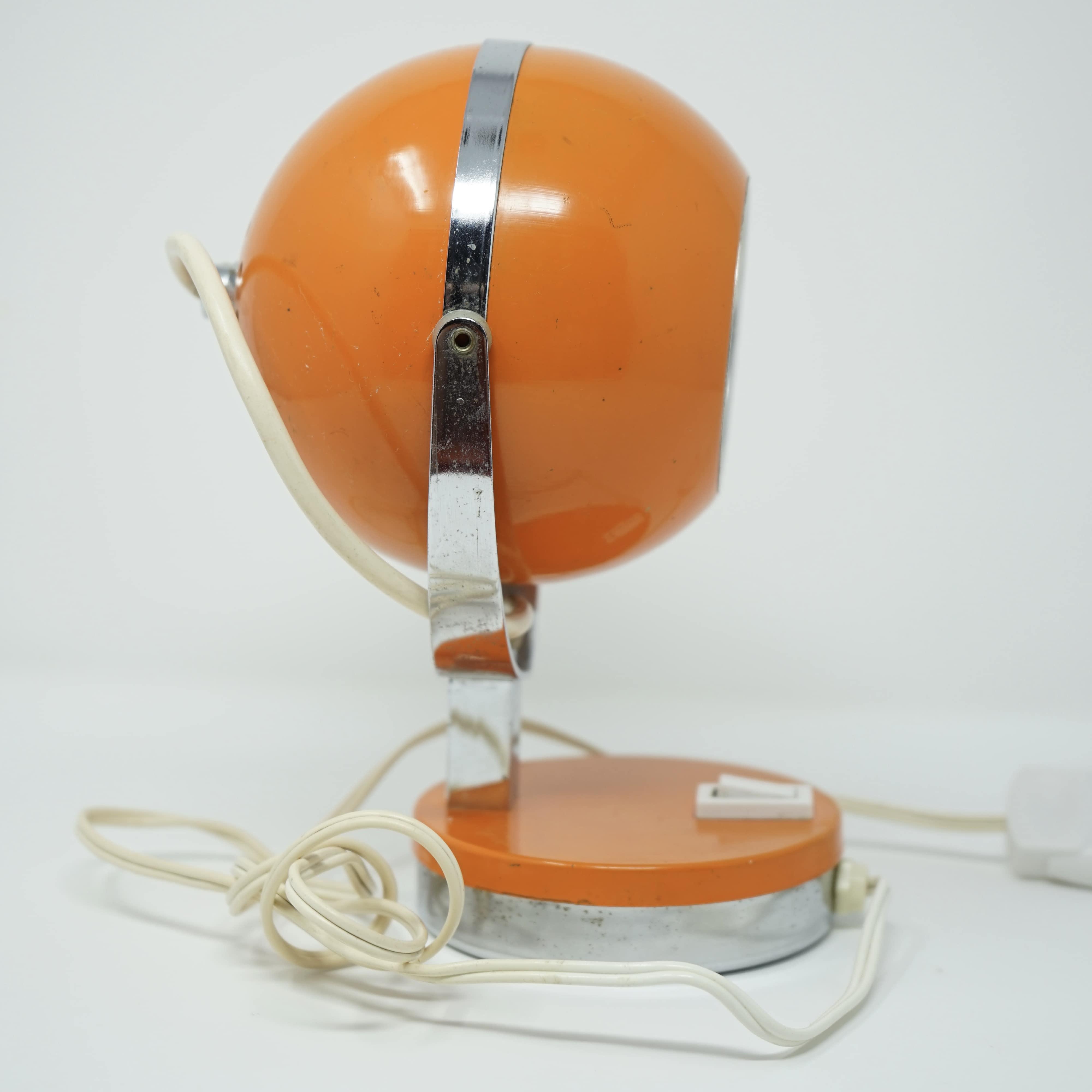 Lampe Eyeball Orange Années 70 Côté
