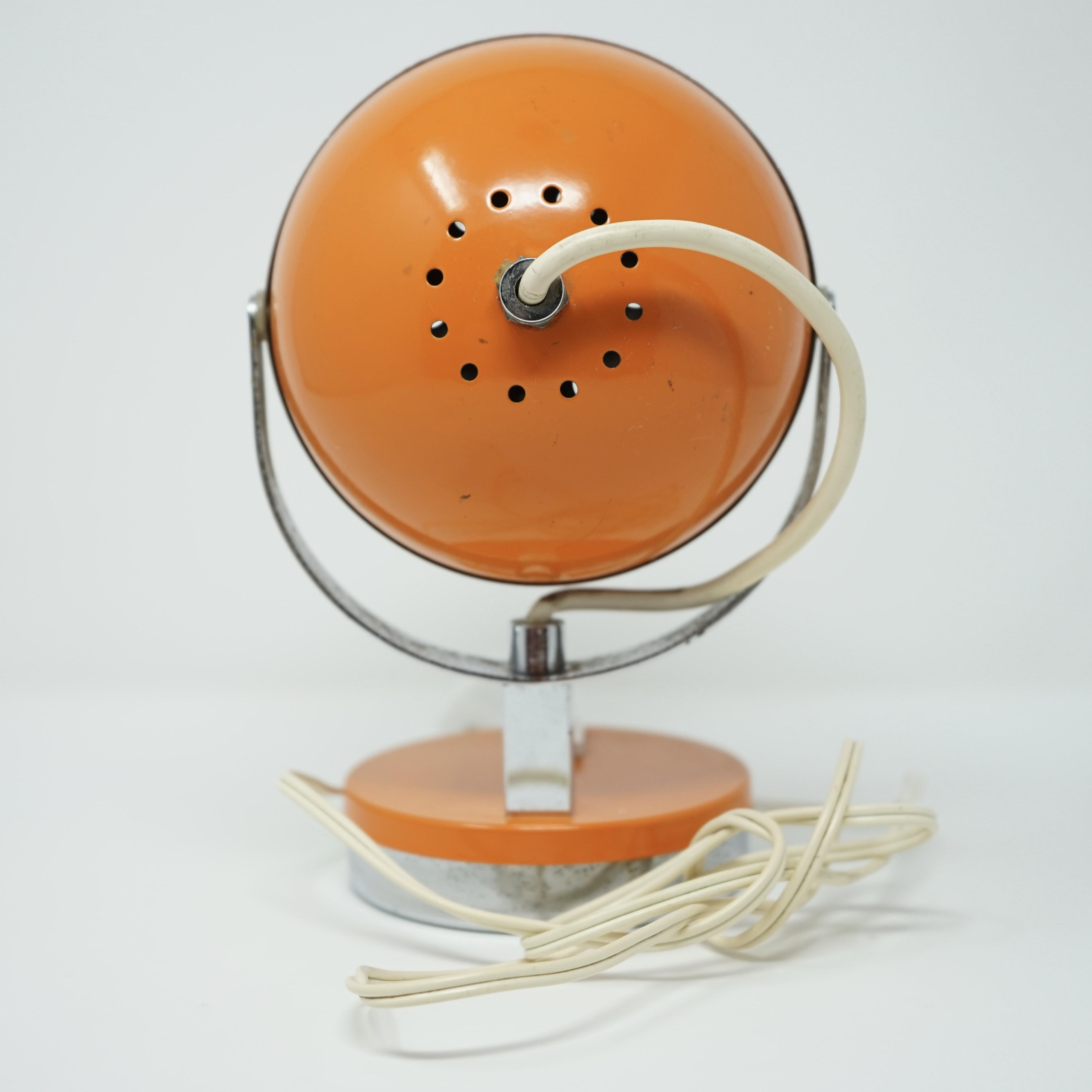 Lampe Eyeball Orange Années 70 Arrière