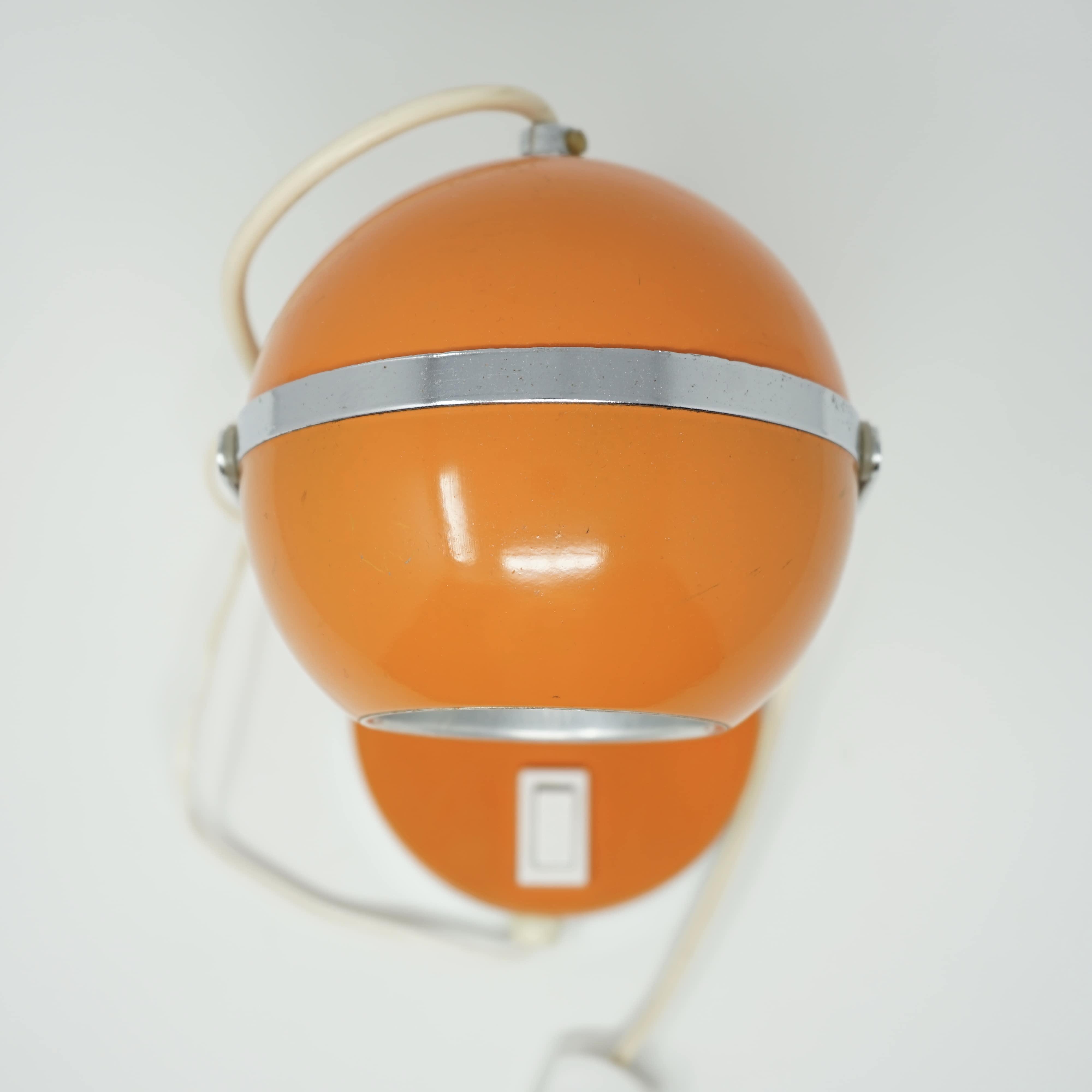 Lampe Eyeball Orange Années 70 Haut