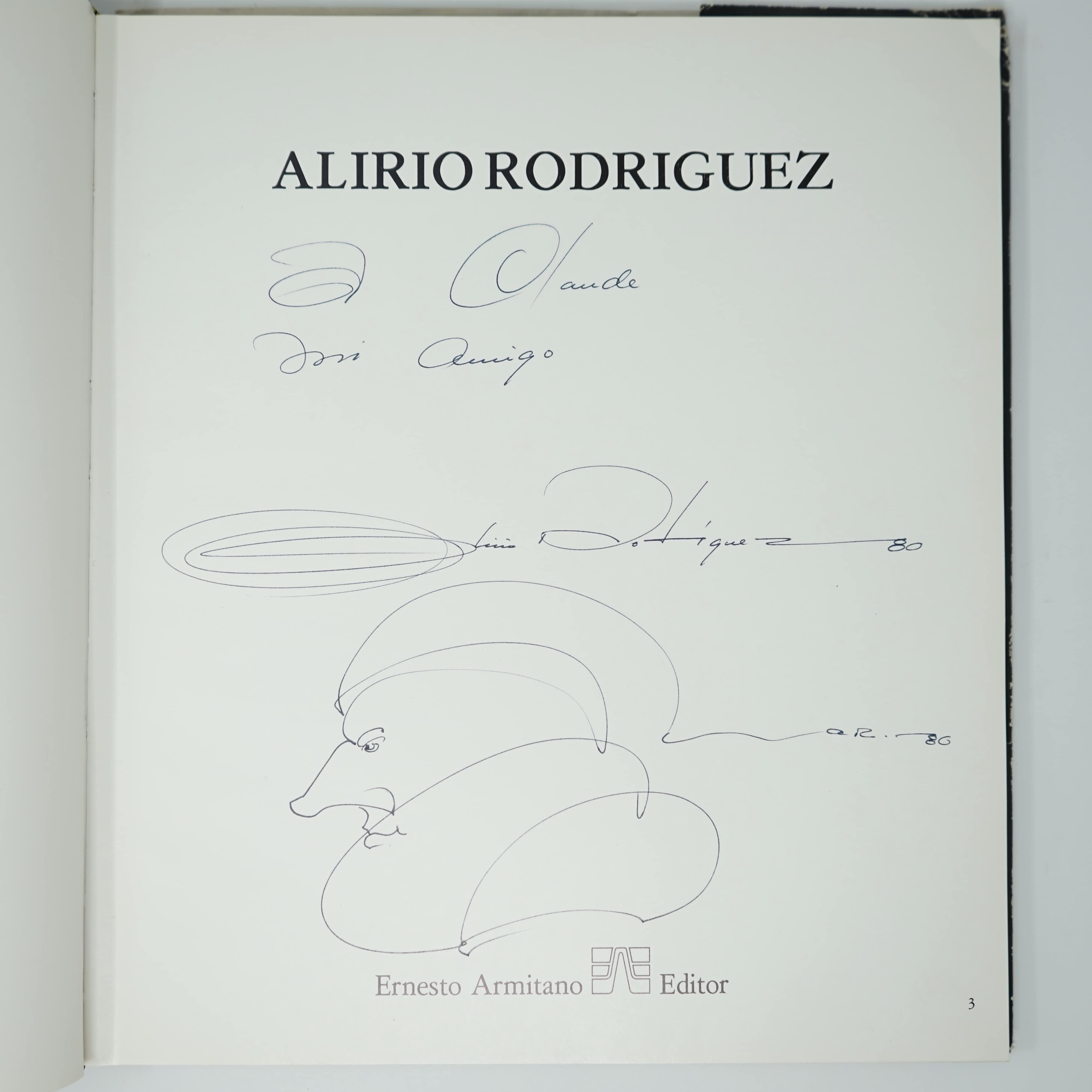 Livre Alirio Rodriguez Original et Dédicacé Le Dessin et La Dédicace
