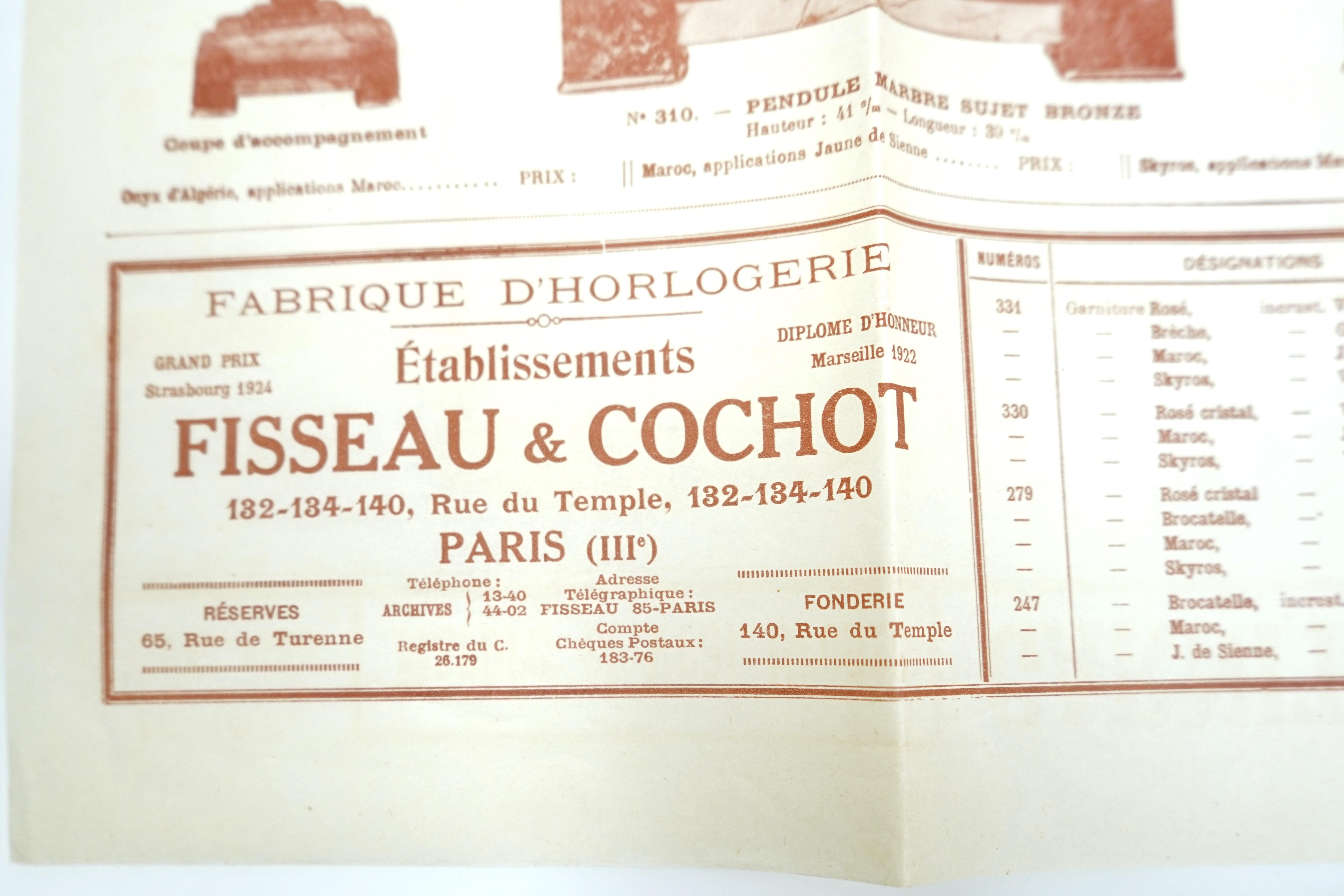 Catalogue Fisseau et Cochot Horlogers