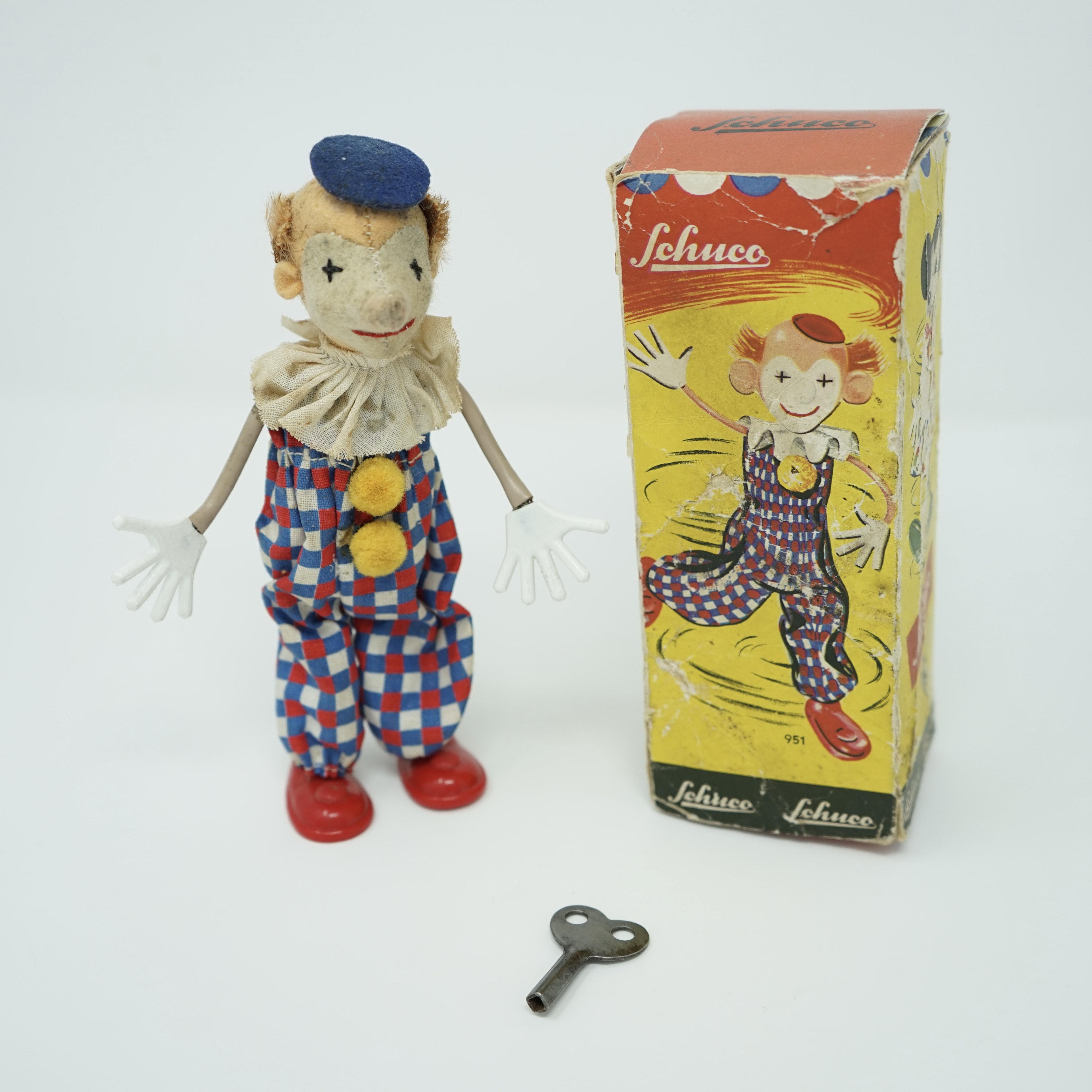 Clown Mécanique de Schuco avec sa clé et boîte