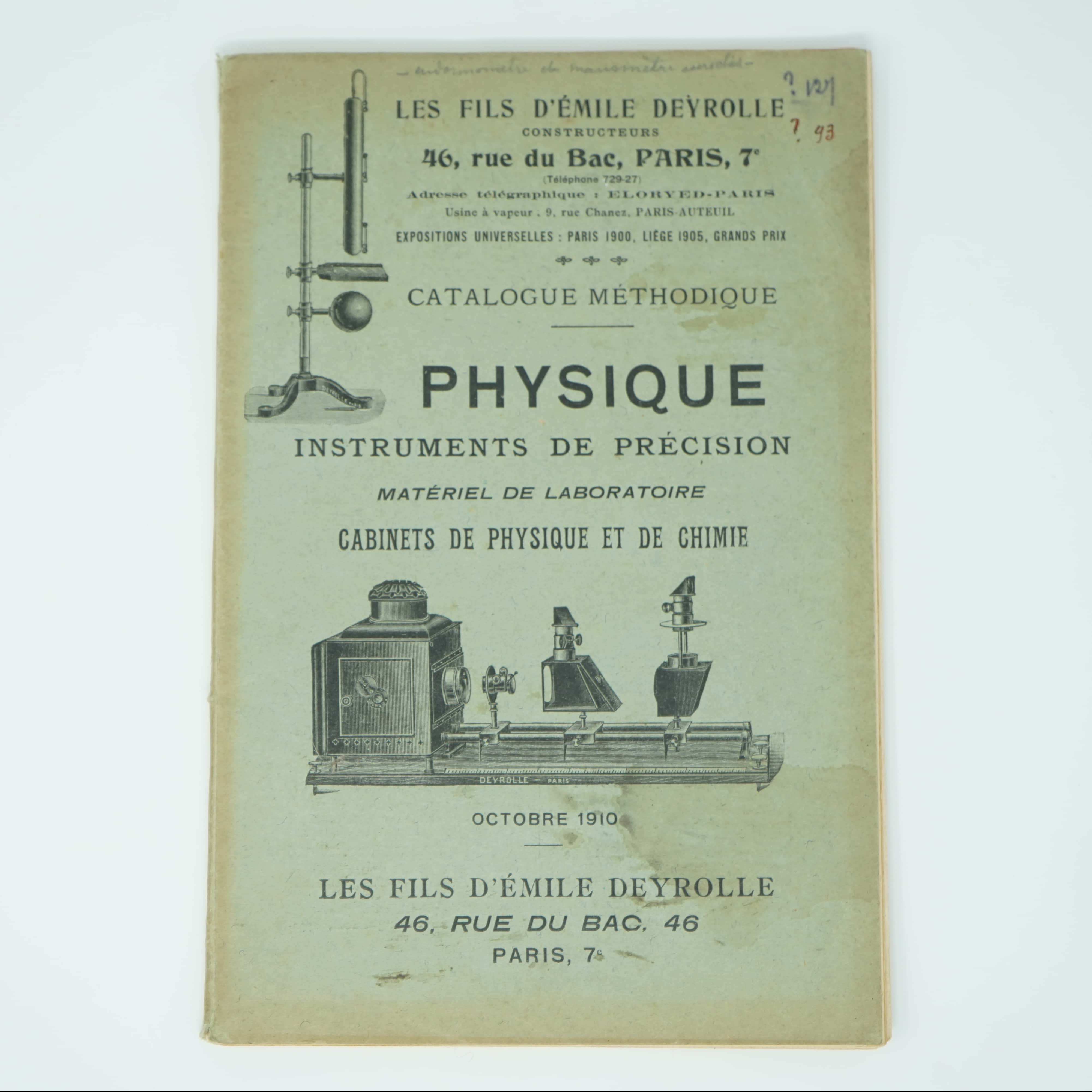Catalogue d'Instruments Physique de Précision couverture