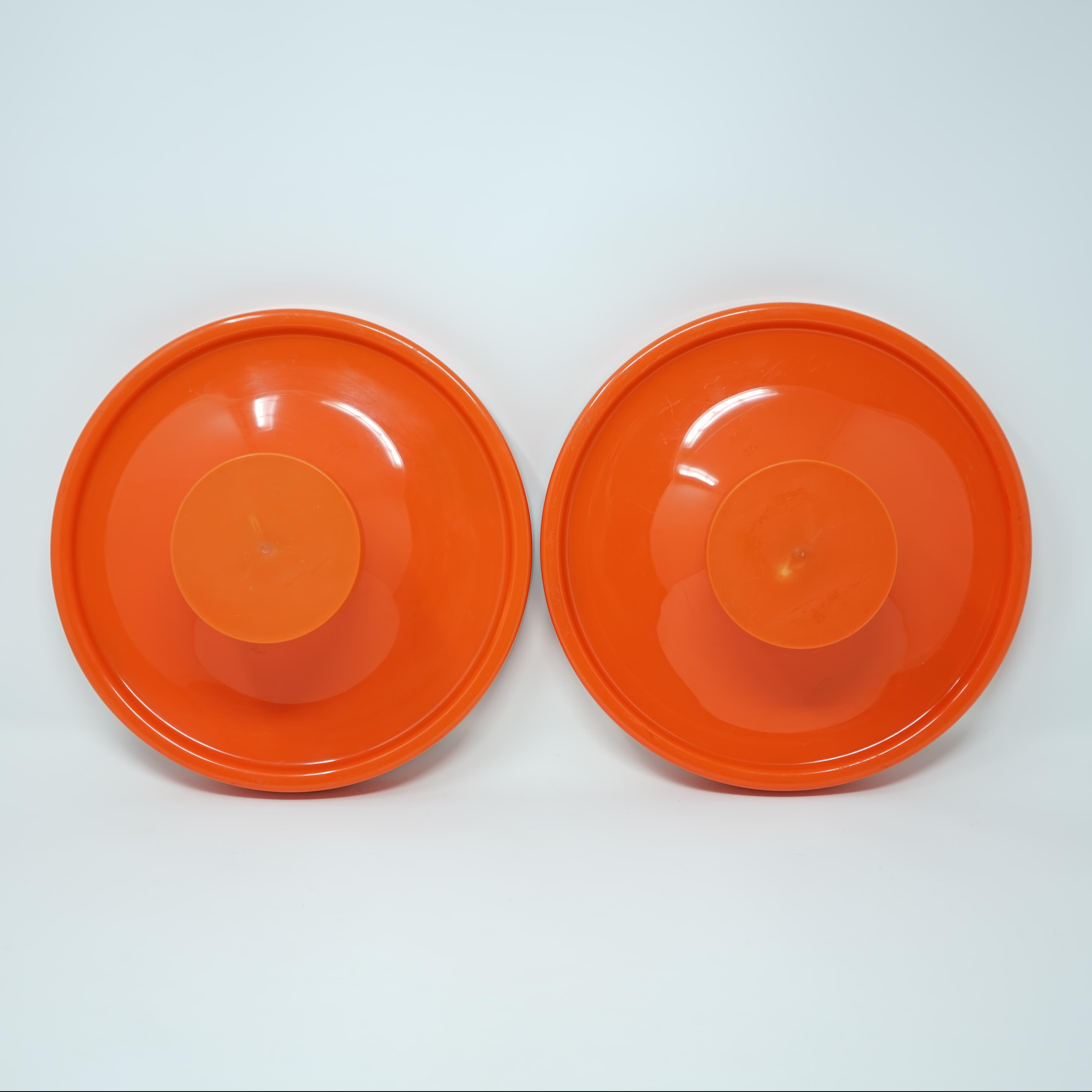 Deux Porte-Manteaux Orange des Années 60
