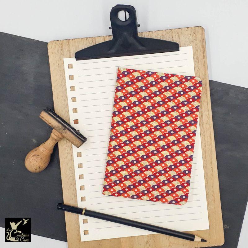 carnet A6 népalais écailles rouge orange violet or