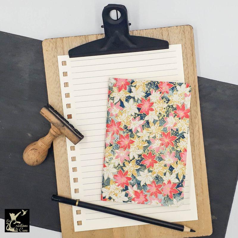 carnet A6 papier japonais rose moutarde bleu