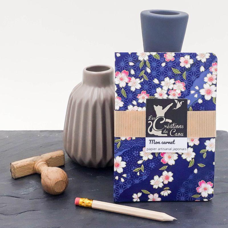 carnet A6 japonais sakura fleur cerisier bleu marine