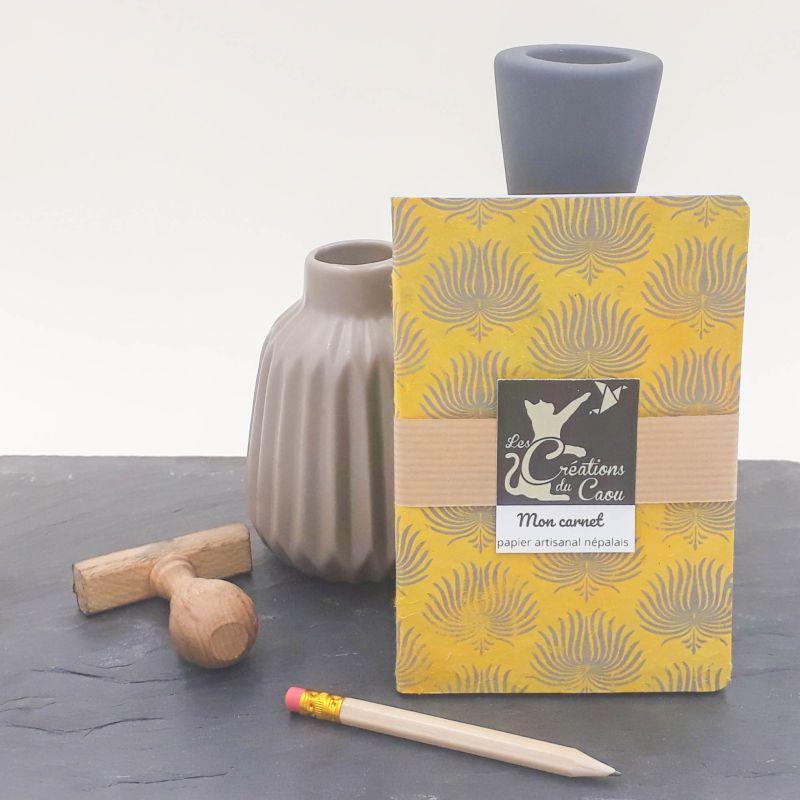 carnet A6 nepalais moutarde ocre motif palmes gris anthracite