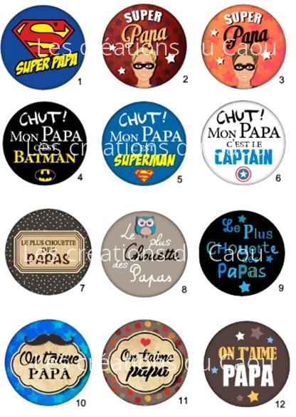 Images pour petit cadeau papa : magnet, miroir, porte-clés, décapsuleur, badge, marque-page.