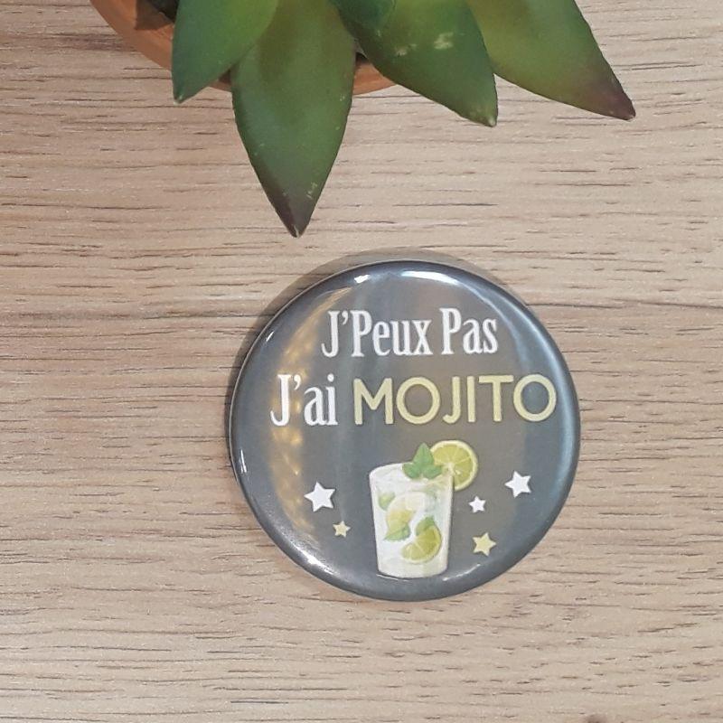 Magnet, badge réalisé à la main dans notre atelier de Lambersart (Lille) sur la thématique humoristique des j'peux pas.